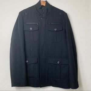 Guess Wool insulated military coat black large